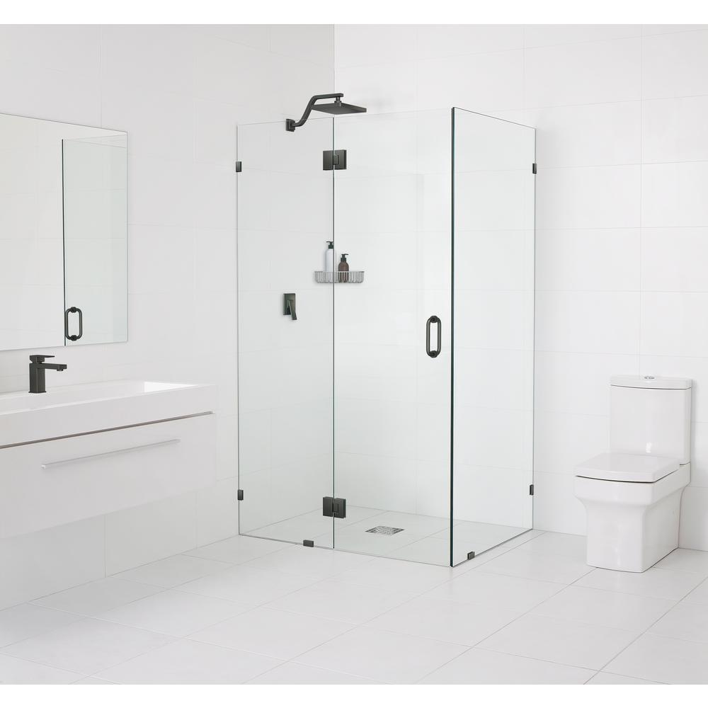Glass Warehouse 35 in. x 78 in. x 35 in. Frameless Hinged Glass Shower Enclosure in Oil Rubbed Bronze