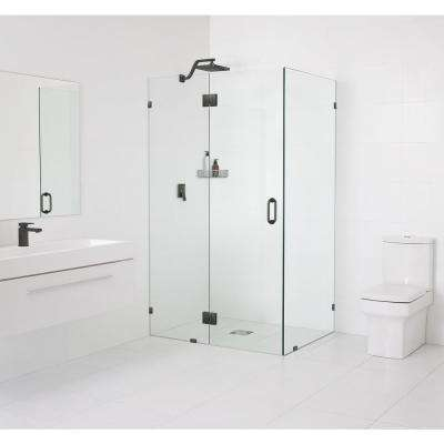 35.5 x 78 in. x 35.5 in. Frameless 90° Hinged Glass Shower Enclosure in Oil Rub Bronze with Handle