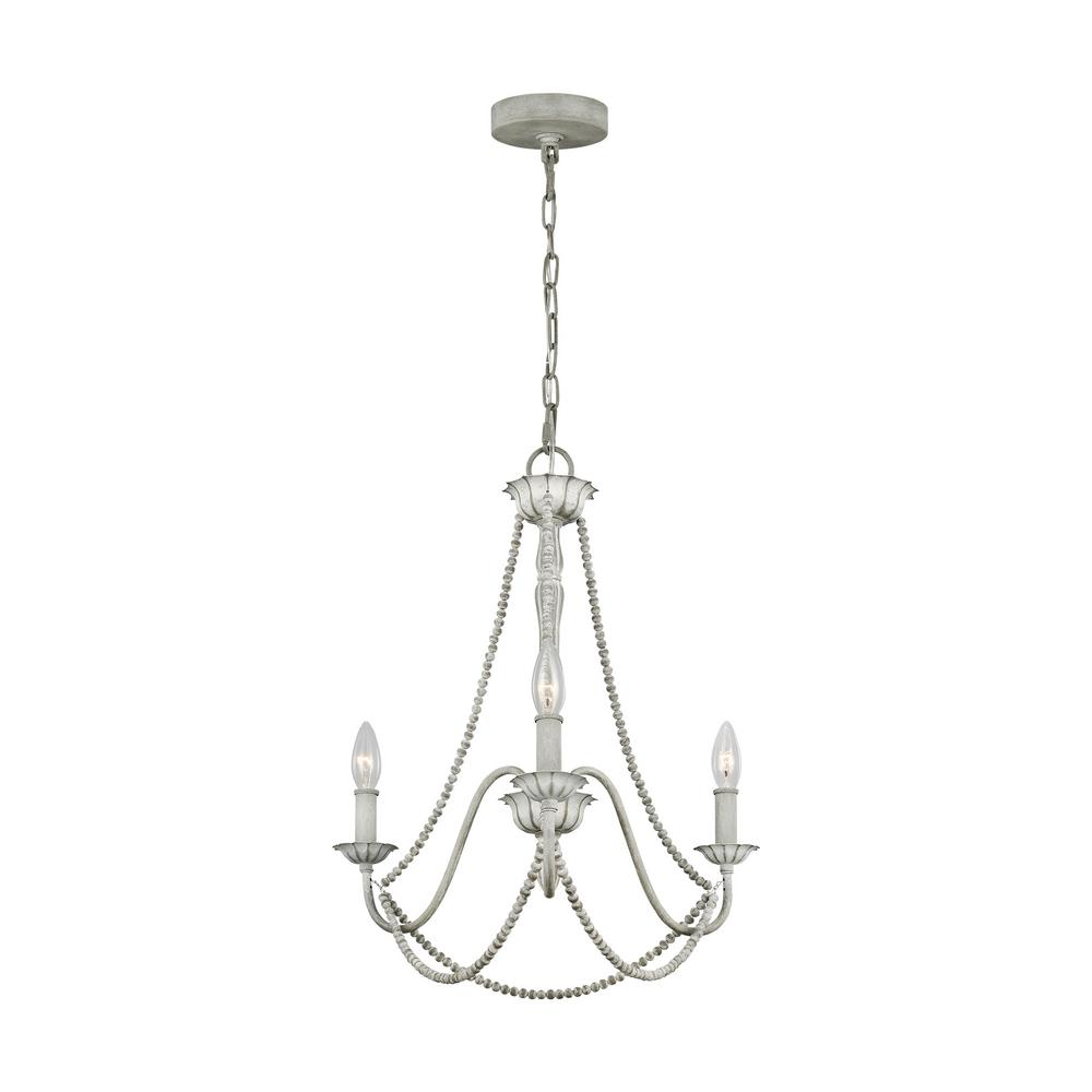 Feiss Maryville 3-Light Washed Grey Chandelier