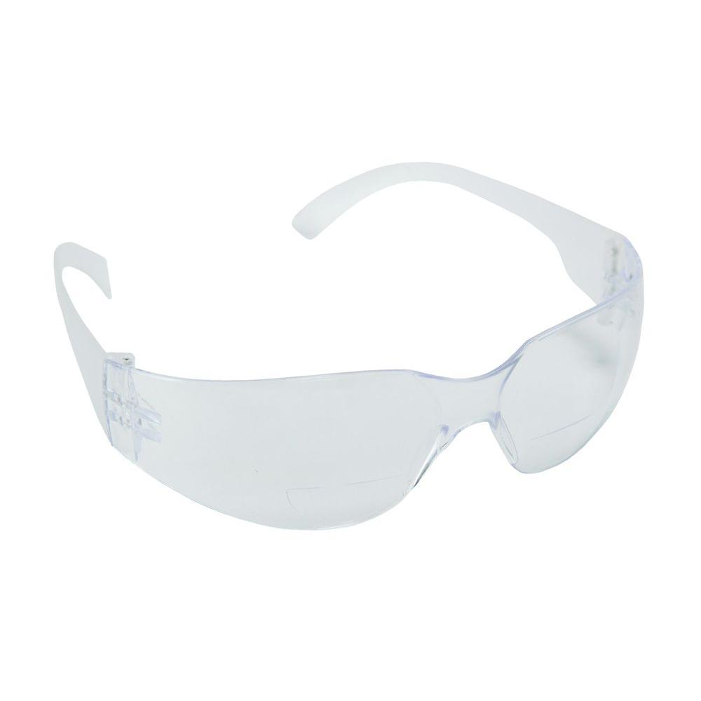 Cordova BULLDOG Readers Polycarbonate Clear Single Wraparound 2-Diopter Lens Bifocal Safety Glasses
