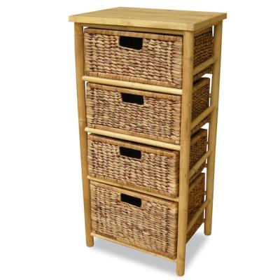 Shelly Assembled 17.75 in. x 17.75 in. x 13 in. Natural/Brown Bamboo Open Sided Storage Cabinet with 4 Baskets