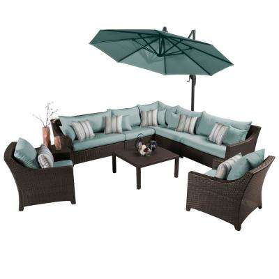 Deco 9-Piece All-Weather Wicker Patio Sectional Set with 10 ft. Umbrella and Bliss Blue Cushions