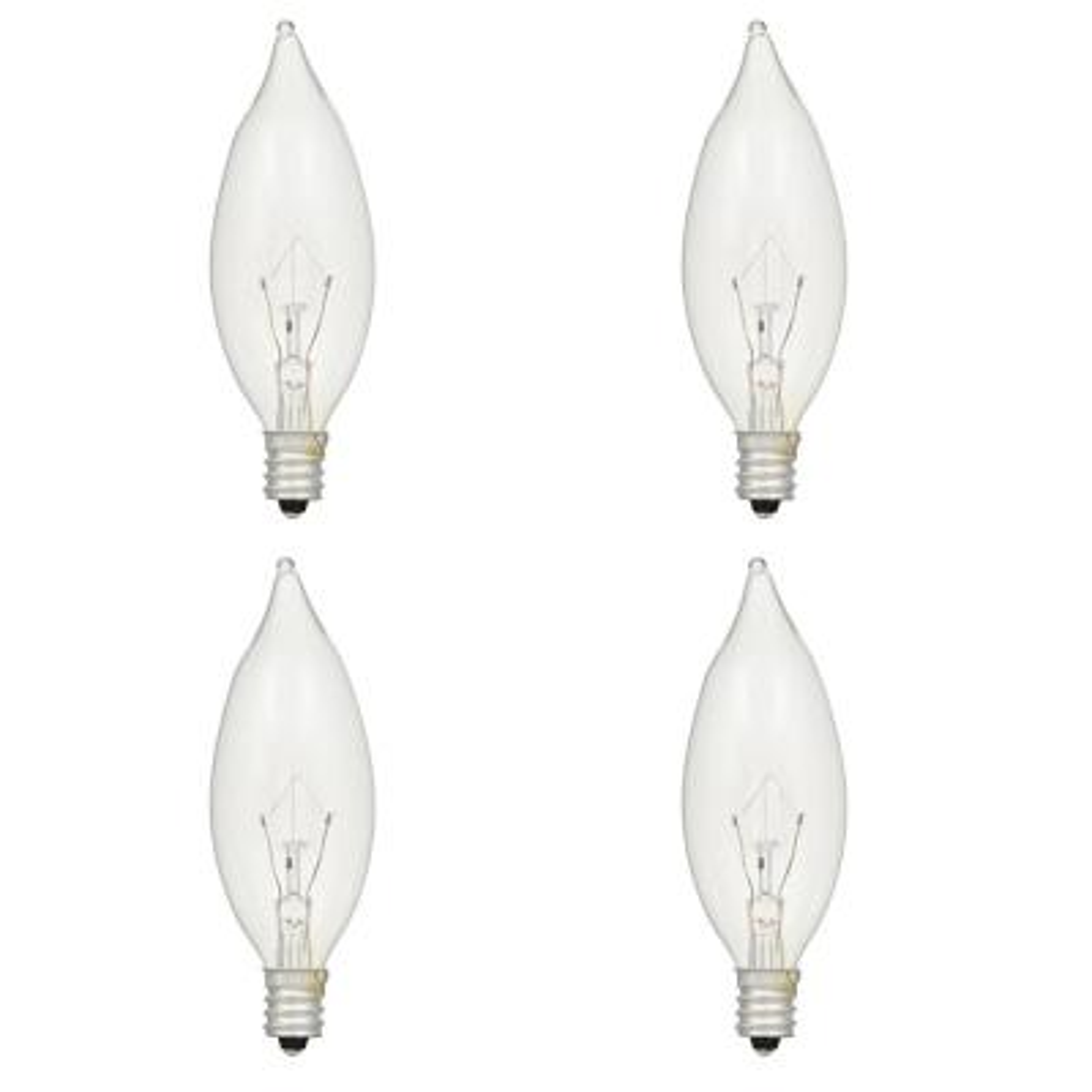 15-Watt Double Life B8 Bent Tip Incandescent Light Bulb (4-Pack)