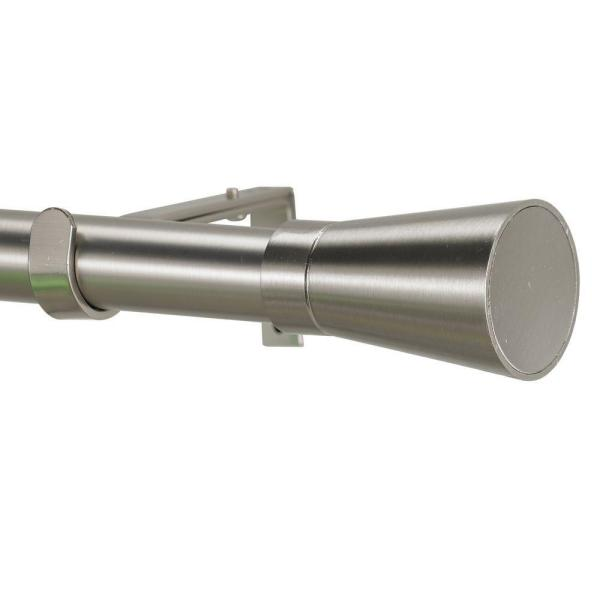Linea 8 ft. Non-Telescoping Single Curtain Rod in Stainless