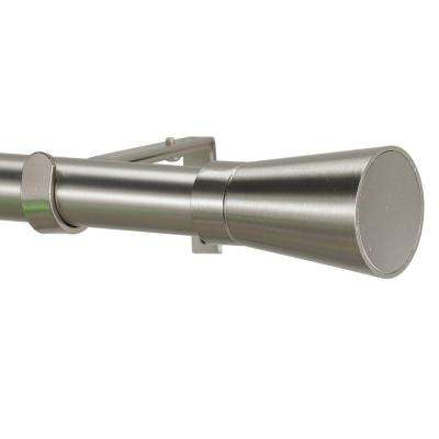 4 ft. Non-Telescoping 1-1/8 in. Single Curtain Rod with Rings in Stainless with Linea Finial