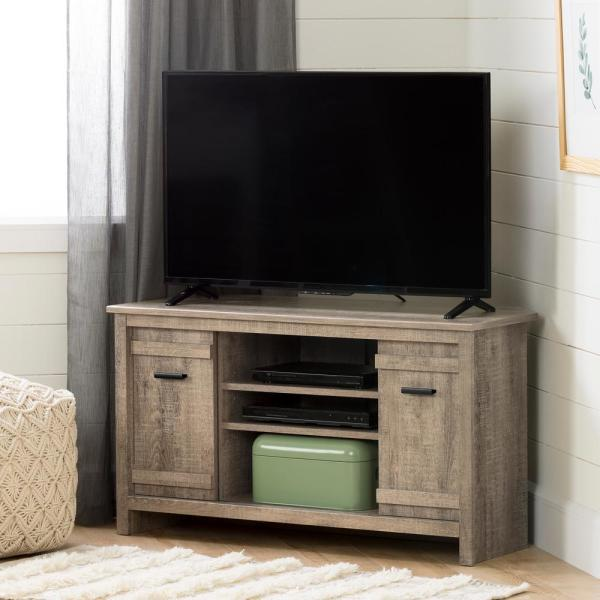 Exhibit 41 in. Weathered Oak Particle Board Corner TV Stand 42 in. with Corner Unit