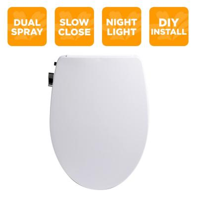 Slim Series Non-Electric Bidet Seat for Elongated Toilet in White with Dual Nozzle, Built-In Side Lever and Night Light