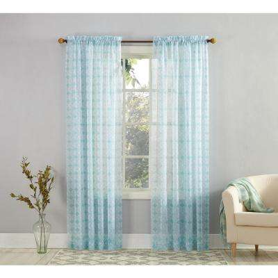 Mora Aegean Fretwork Sheer Voile Print Curtain - 59 in. W x 63 in. L