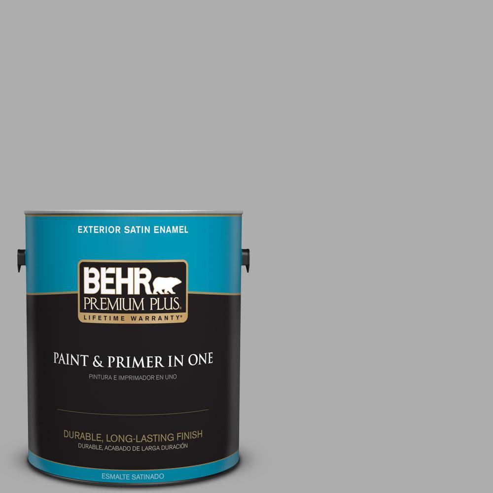 BEHR Premium Plus 1-gal. #N520-3 Flannel Gray Satin Enamel Exterior Paint