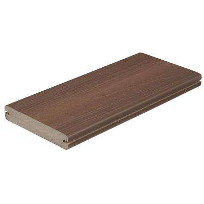 Horizon 1 in. x 5-1/4 in. x 1 ft. Tudor Brown Grooved Edge Capped Composite Decking Board Sample