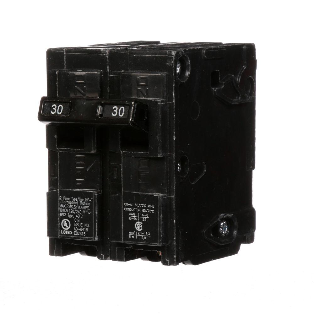 Murray 30 Amp Double Pole Type Mp Circuit Breaker Mp230u The Home 2 Ground Fault Wiring Diagram