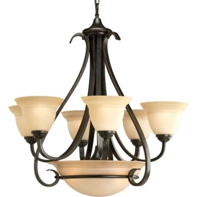 Progress Lighting Torino Collection 6-Light Forged Bronze Tea-Stained Glass Transitional Chandelier Light