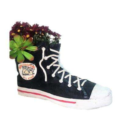 18 in. Black High Top Sneaker Shoe Planter (Holds 6 in. Pot)