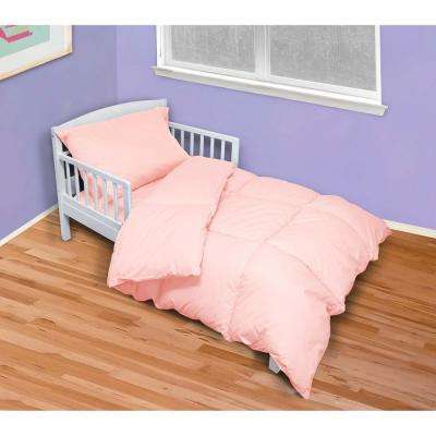 4-Piece Pink Toddler Twin Bed Set