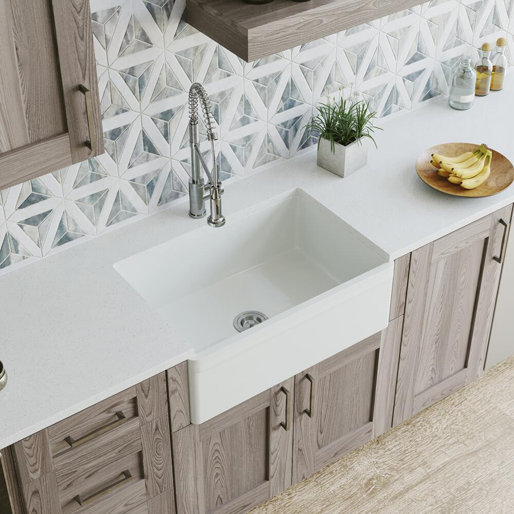 MR Direct Farmhouse Apron Front Fireclay 30 in. Single Bowl Kitchen Sink