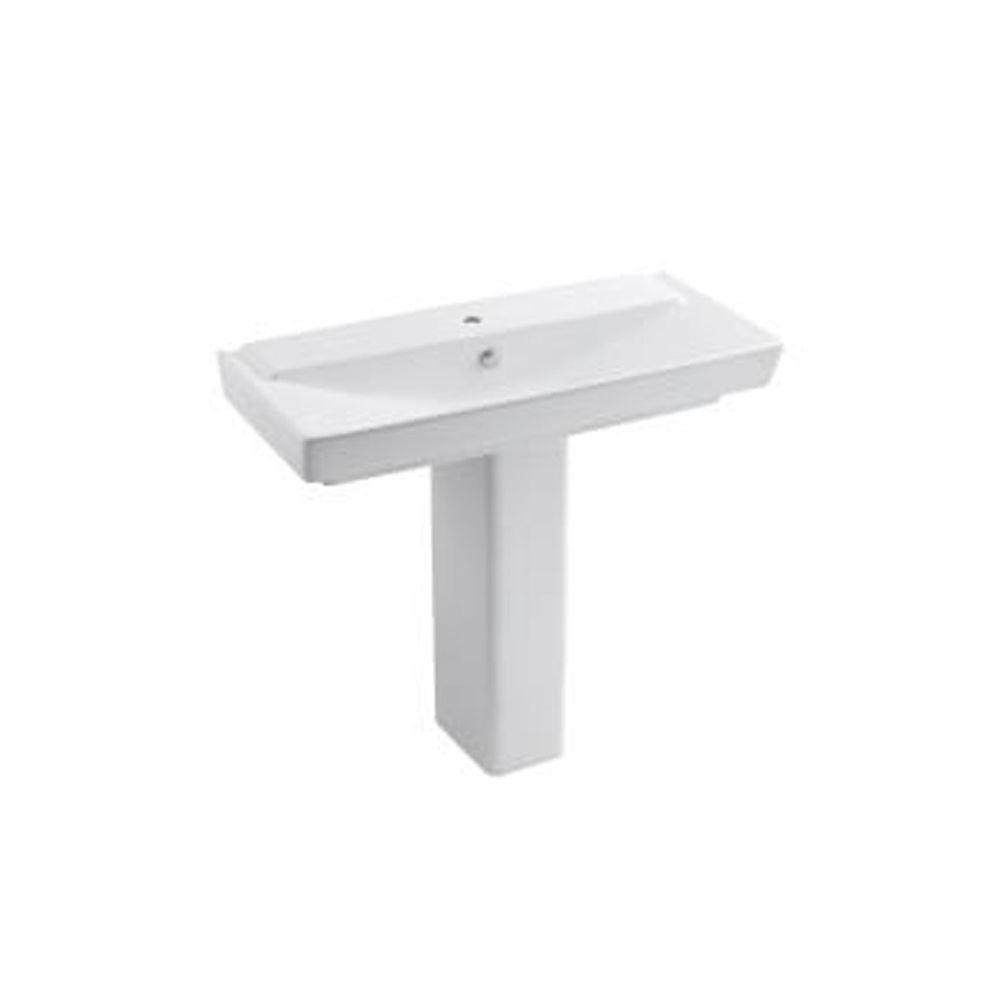 Ceramic Pedestal Bathroom Sink Combo In White With