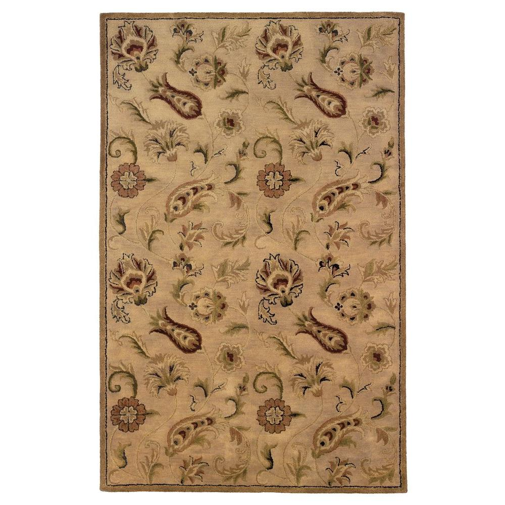 Linon Home Decor Ashton Collection Pale Gold 5 ft. x 8 ft. Indoor Area Rug