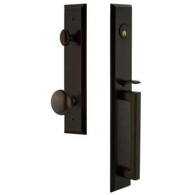 Fifth Avenue 2-3/4 in. Backset Timeless Bronze 1-Piece Door Handleset with D-Grip and Knob