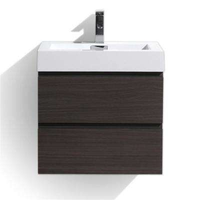 Fortune 24 in. W Bath Vanity in Dark Gray Oak with Reinforced Acrylic Vanity Top in White with White Basin