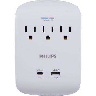 3-Outlet Surge Protector with 1 USB-C Port and 1 USB-A Port, White