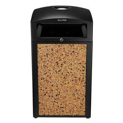 40 Gal. Stone Steel All-Weather Panel Outdoor Commercial Trash Can with Ash Tray Lid
