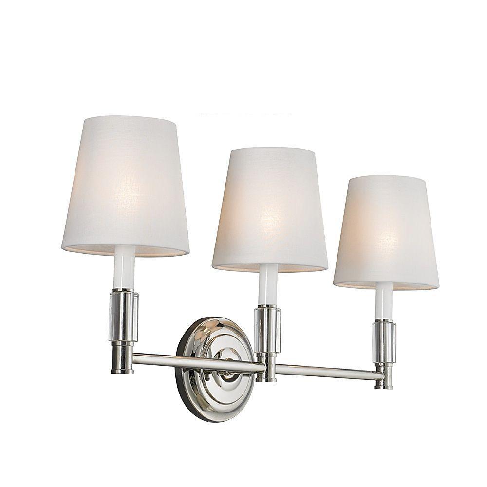 Lismore 3-Light Polished Nickel Vanity Light