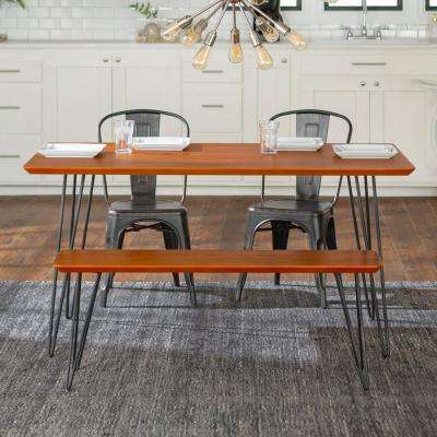 Contemporary Mid Century Modern Urban Square Hairpin 4-Piece Dining Set w/ Café Chairs - Walnut/Black