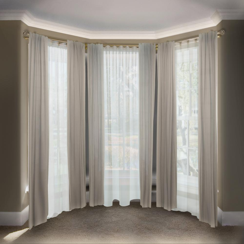 Emoh 13 16 Dia Adjule Bay Window Double Curtain Rod 20 To 36 38 72 In Antique Br With London Finials
