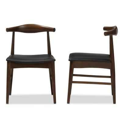 Winton Black Faux Leather Dining Chair (Set of 2)