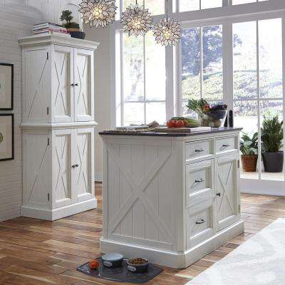 Charming Seaside Lodge Hand Rubbed White Kitchen Island With Quartz Stone Top