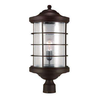 Sauganash 1-Light Outdoor Antique Bronze Post Lantern with Clear Seeded Glass