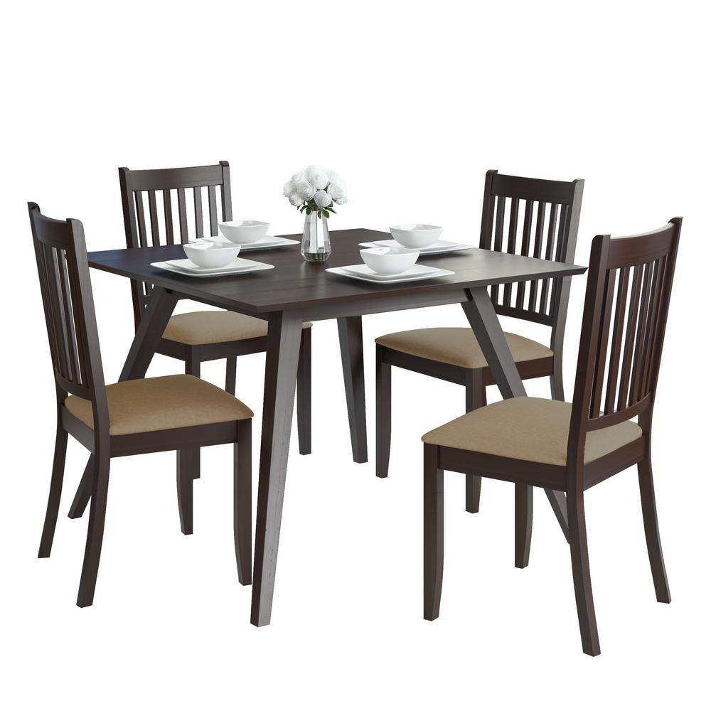 CorLiving Atwood 5-Piece Dining Set with Beige Microfiber Chairs-DRG ...