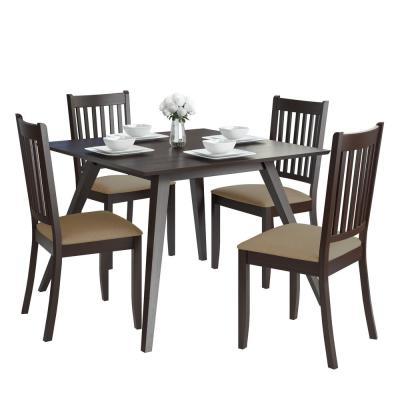 Atwood 5-Piece Dining Set with Beige Microfiber Chairs