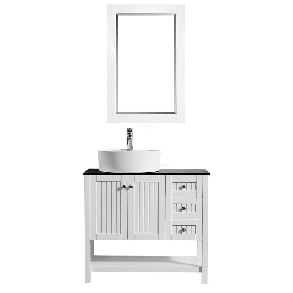 ROSWELL Modena 36 in. W x 18 in. D Vanity in White with Glass Vanity Top in Black with White Basin and Mirror