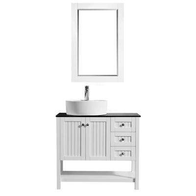 Modena 36 in. W x 18 in. D Vanity in White with Glass Vanity Top in Black with White Basin and Mirror