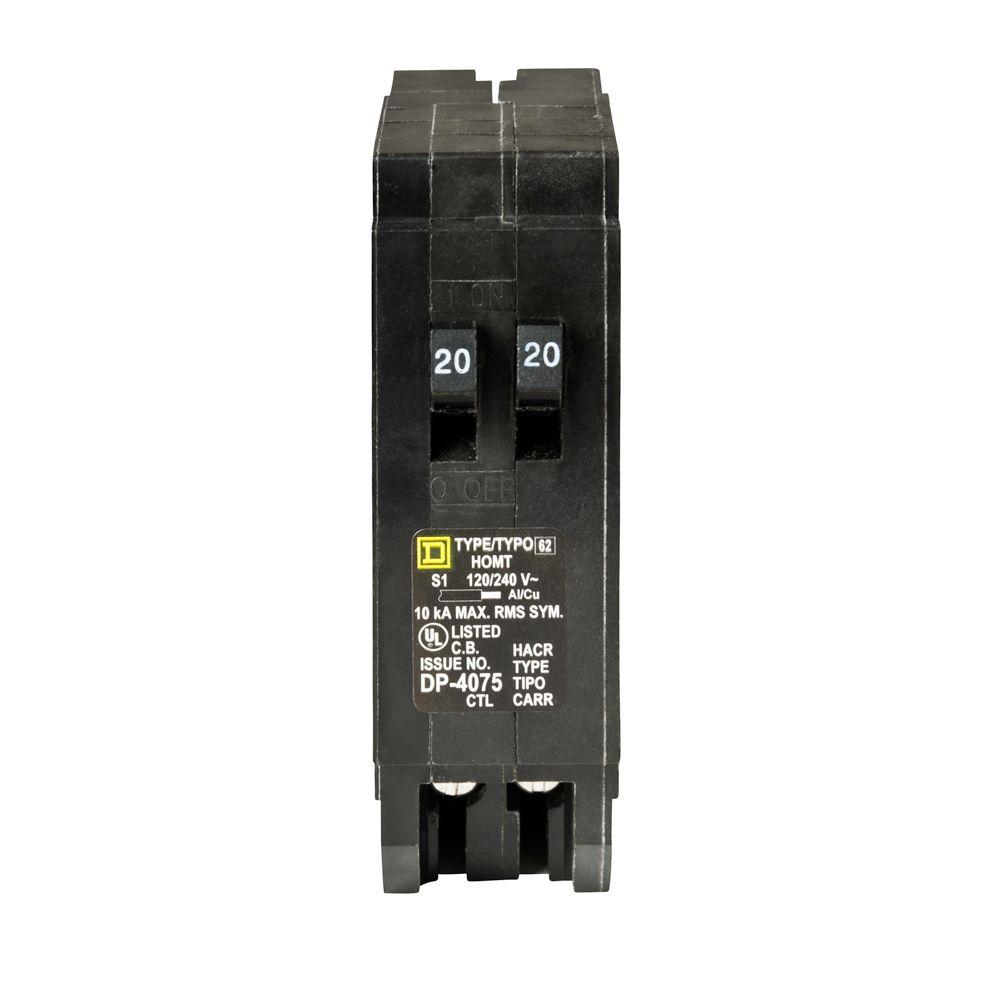 Square D Homeline 2 20 Amp Single Pole Tandem Circuit Breaker How To Build A Simple Unit Electronic