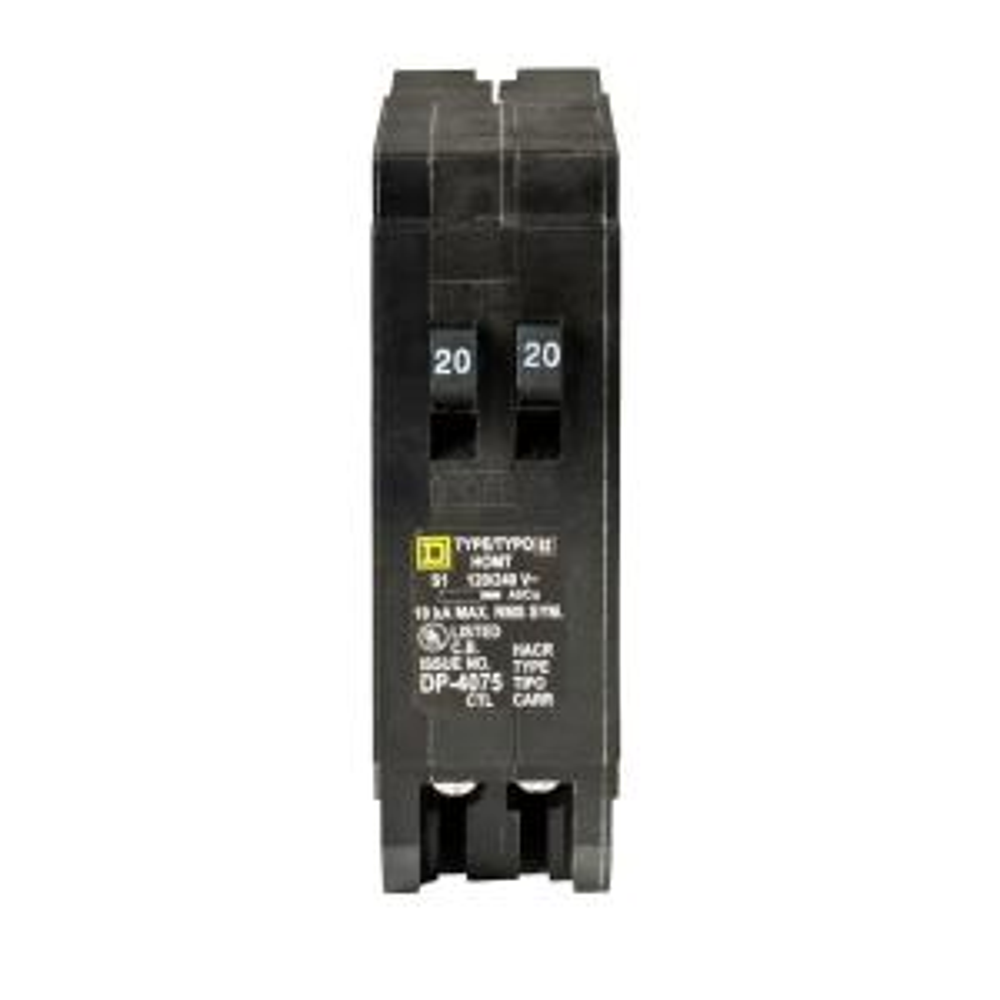 Square D Homeline 2 20 Amp Single Pole Tandem Circuit