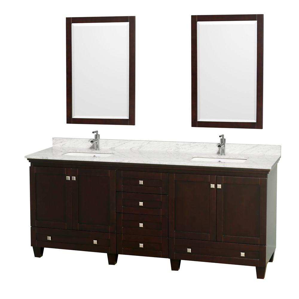Double Vanity Marble Vanity Top Ivory Square Sink Mirrors pic 359