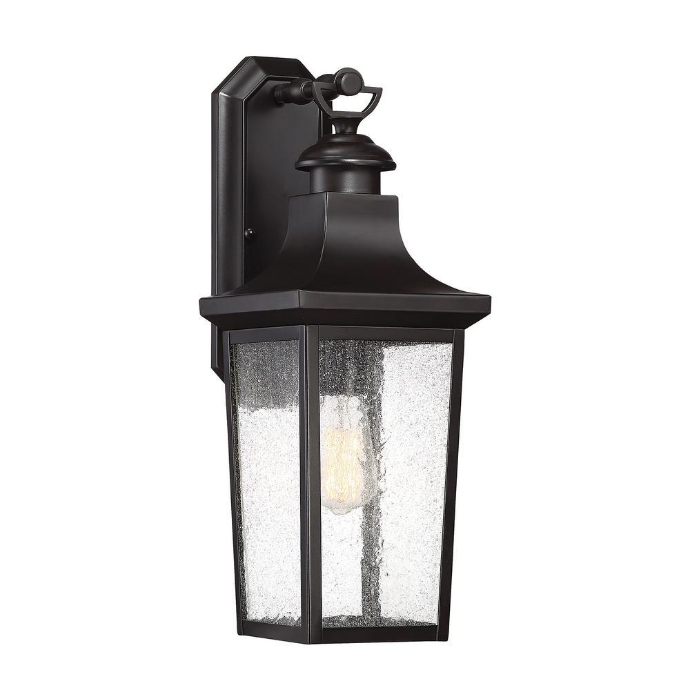 1-Light Outdoor English Bronze Wall Lantern Sconce
