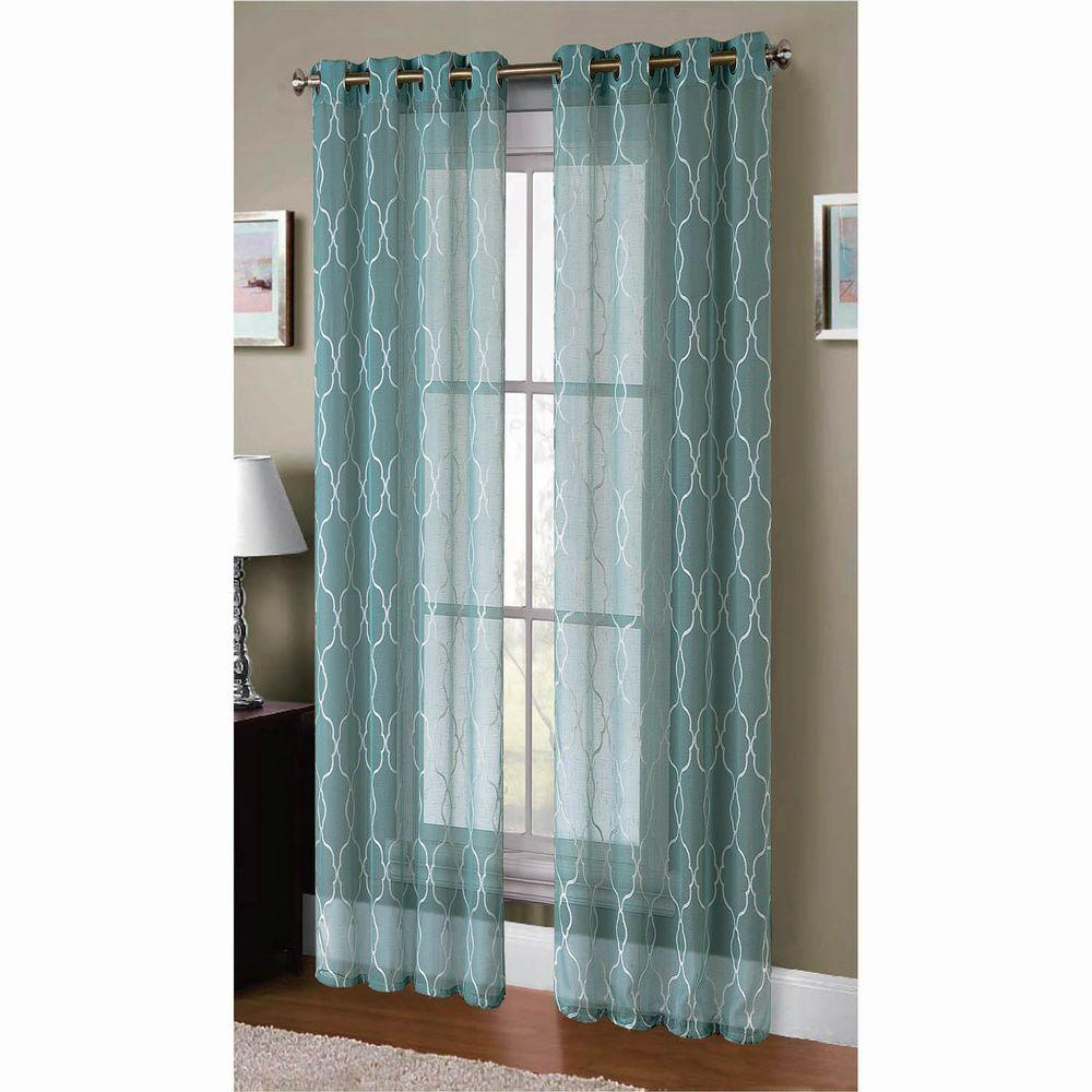 Window Elements Sheer Boho Embroidered Sheer Faux-Linen 96 in. L ...