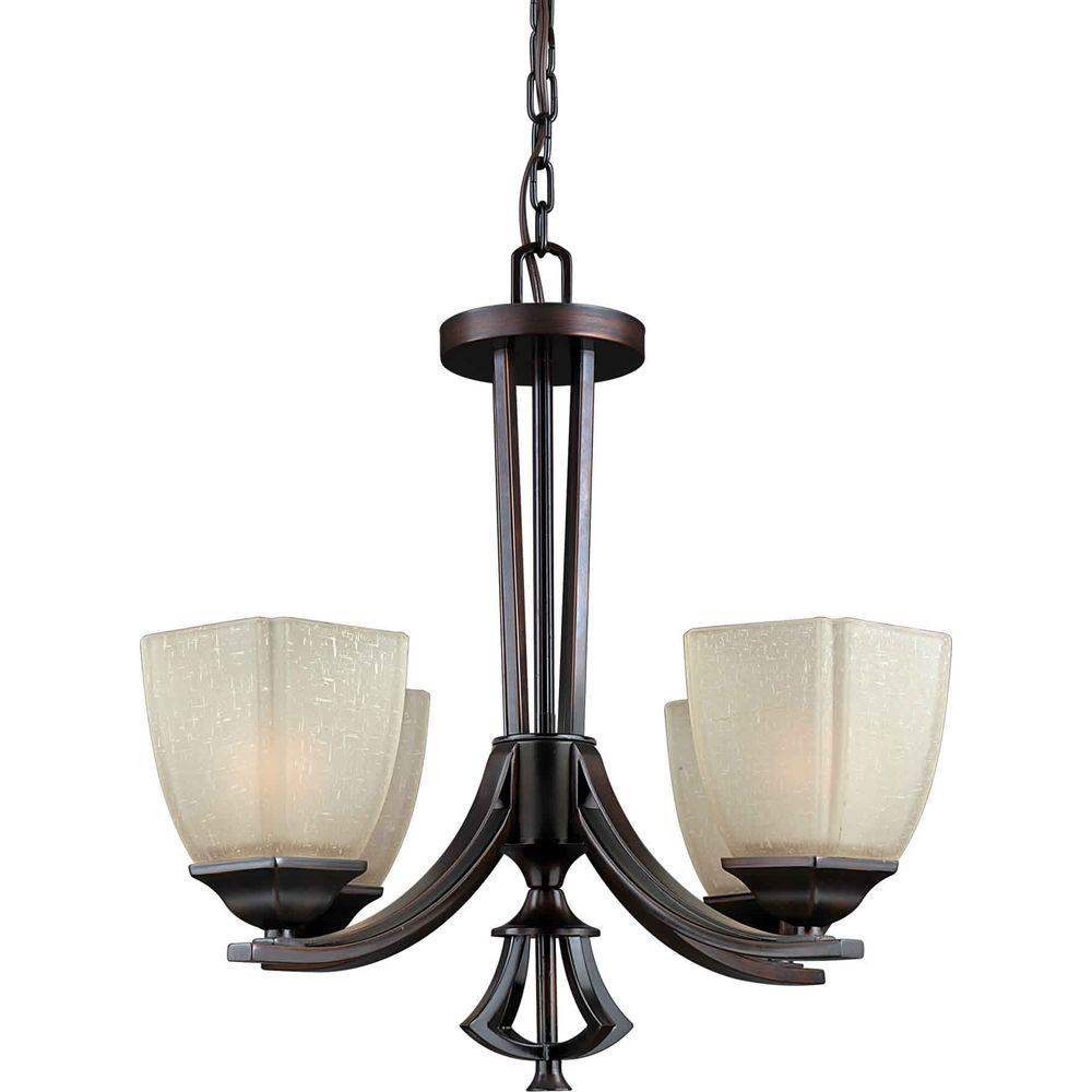 Illumine 4 Light Chandelier Antique Bronze Finish Umber Linen Glass-DISCONTINUED