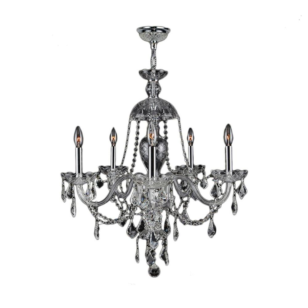 Worldwide Lighting Provence Collection 5 Light Polished Chrome Chandelier With Clear Crystal