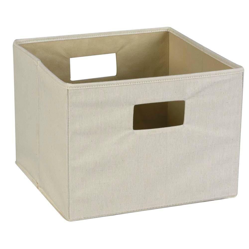 Household Essentials 13 in. Square Natural Canvas Storage Bin with Cut-out Handles
