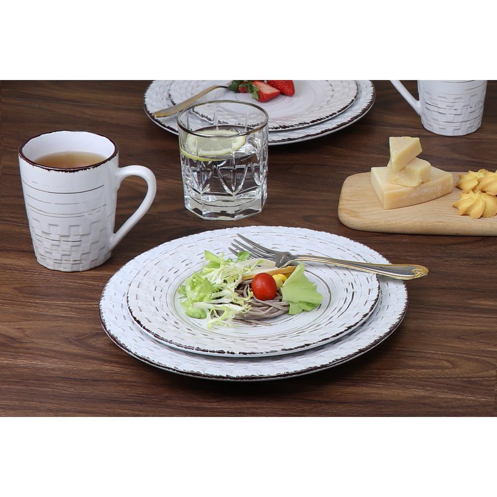 16-Piece Casual White Stoneware Dinnerware Set (Service for 4)