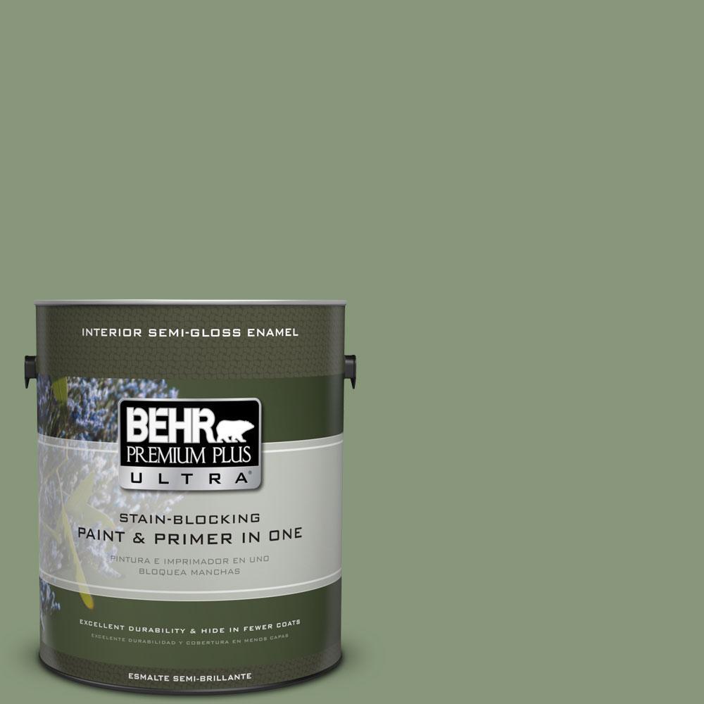 BEHR Premium Plus Ultra 1-gal. #S390-5 Laurel Tree Semi-Gloss Enamel Interior Paint
