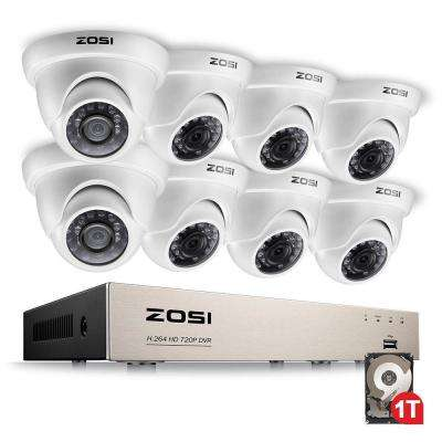 8-Channel 720p 1TB Hard Drive DVR Security Camera System with 8 Wired Dome Cameras