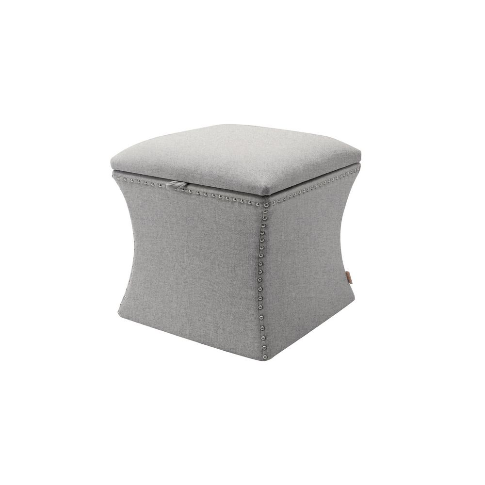 Holly Light Grey Storage Ottoman