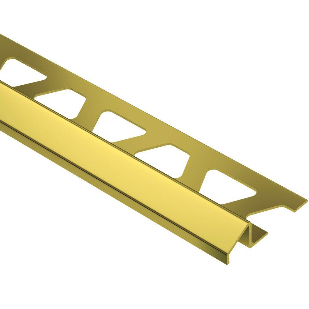 Schluter Reno-U Solid Brass 9/16 in. x 8 ft. 2-1/2 in. Metal Reducer Tile Edging Trim