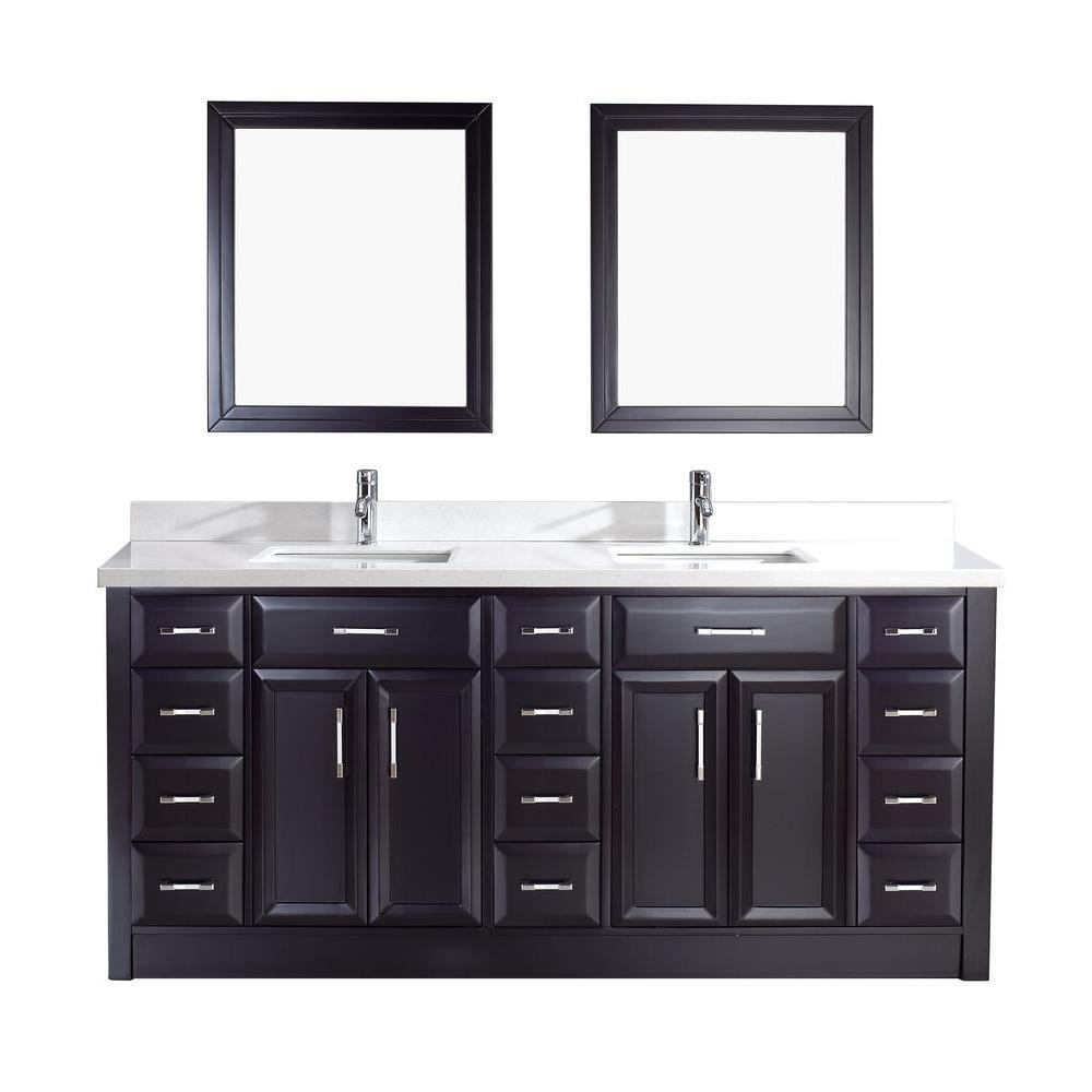 Studio Bathe Calais 75 in. Vanity in Espresso with Solid Surface Marble Vanity Top in Carrara White and Mirror
