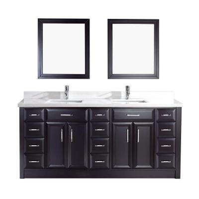 Calais 75 in. Vanity in Espresso with Solid Surface Marble Vanity Top in Carrara White and Mirror